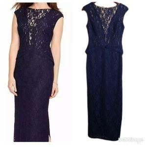NWT Ralph Lauren Navy Lace Evening Maxi Dress 4